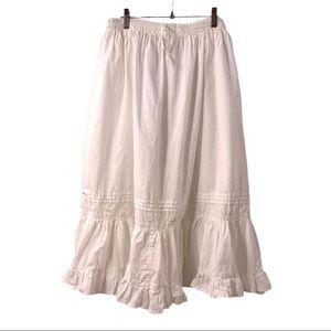 O Calcutta White Cotton Tiered Midi Skirt Pockets